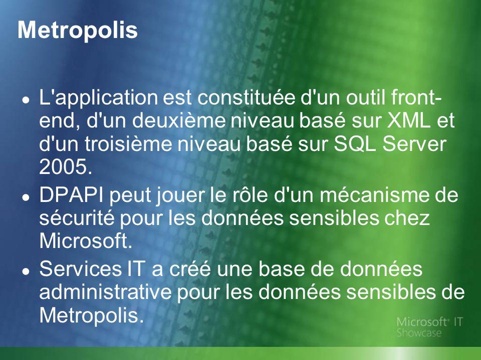 Metropolis L application est constituée d un outil front-end, d un deuxième niveau basé sur XML et d un troisième niveau basé sur SQL Server 2005.
