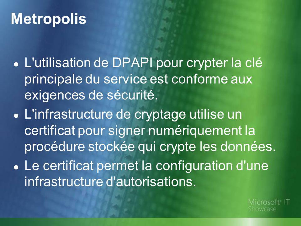 Metropolis L utilisation de DPAPI pour crypter la clé principale du service est conforme aux exigences de sécurité.