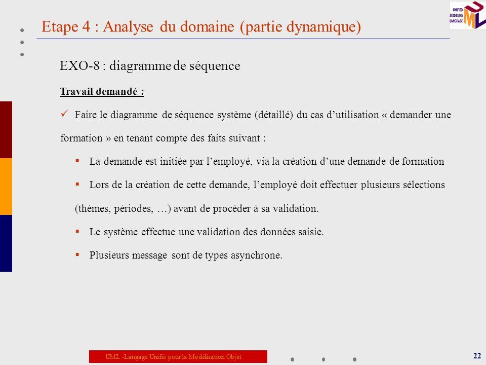 Etape 4 : Analyse du domaine (partie dynamique)