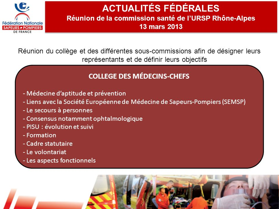 ACTUALITÉS FÉDÉRALES COLLEGE DES MÉDECINS-CHEFS