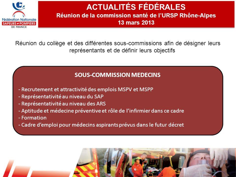 ACTUALITÉS FÉDÉRALES SOUS-COMMISSION MEDECINS