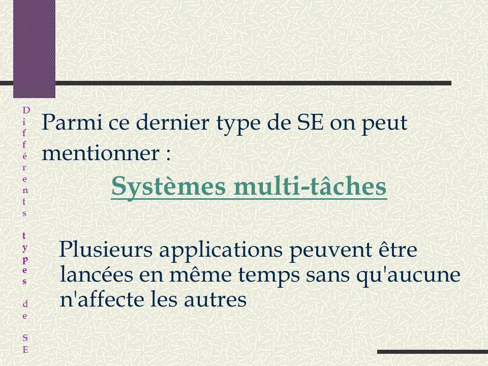 Parmi ce dernier type de SE on peut mentionner : Systèmes multi-tâches