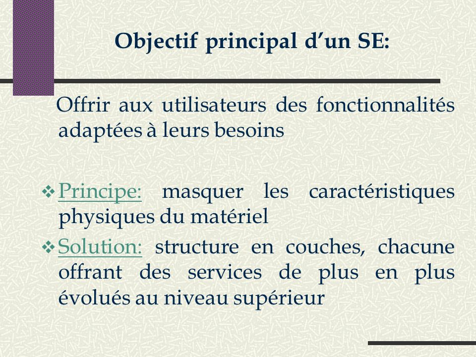 Objectif principal d'un SE: