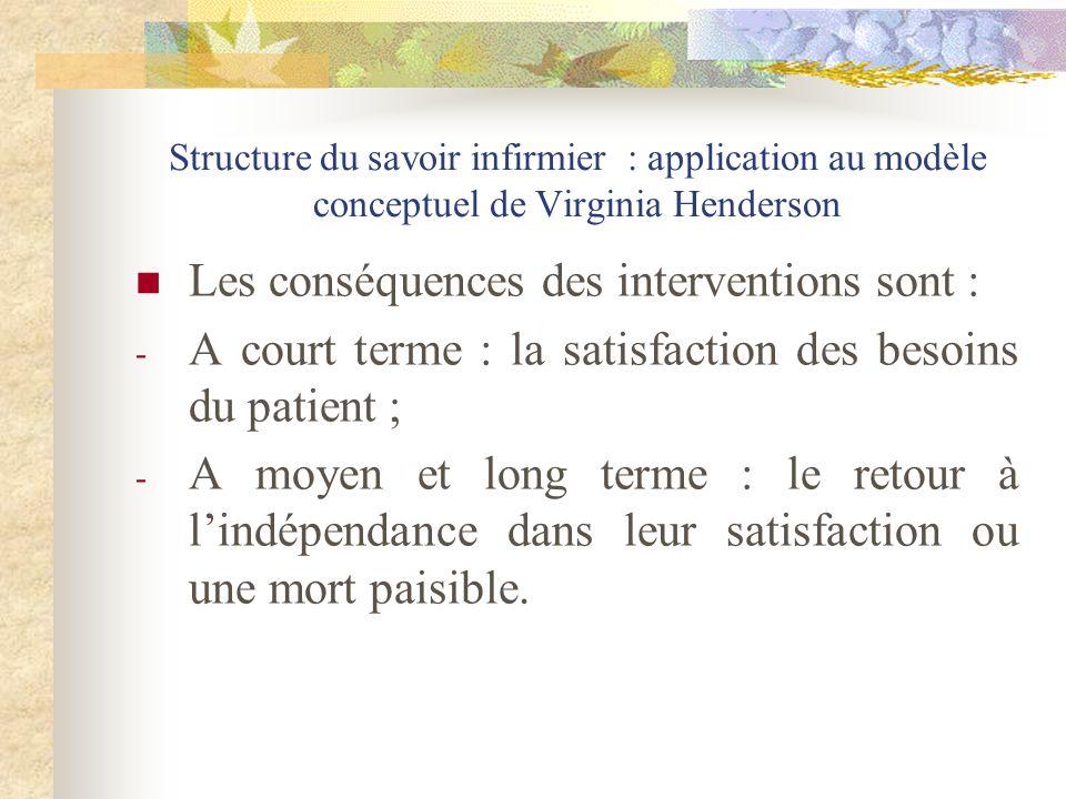 Les conséquences des interventions sont :