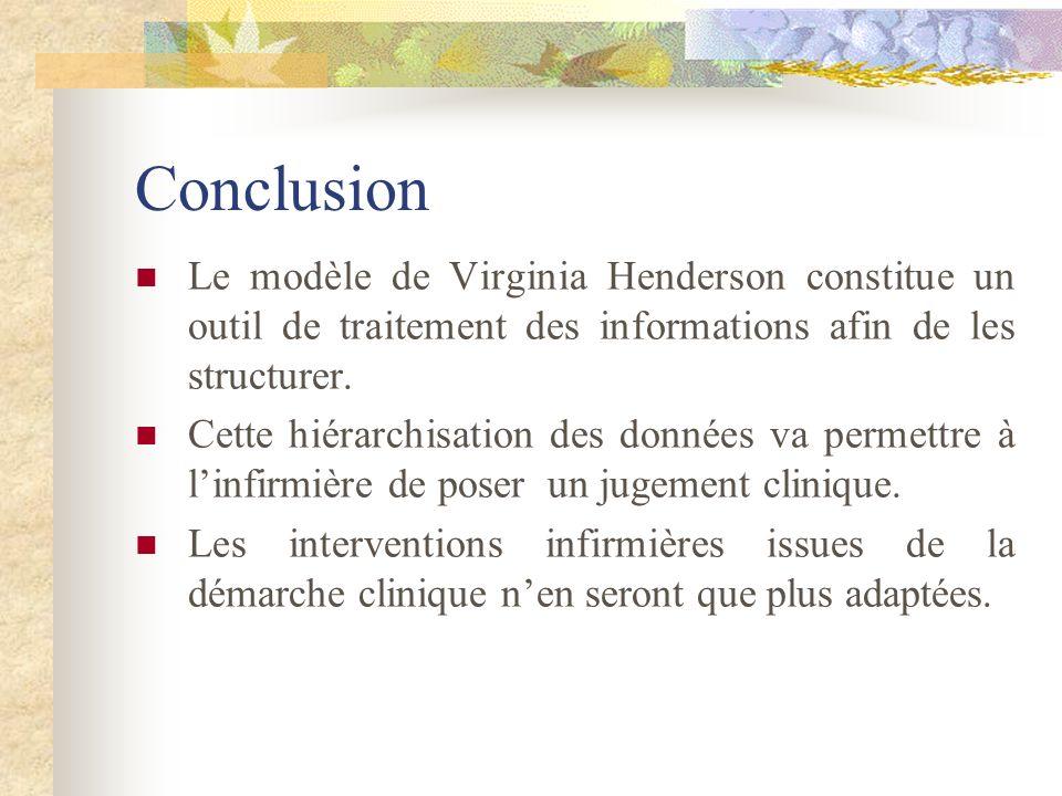 Conclusion Le modèle de Virginia Henderson constitue un outil de traitement des informations afin de les structurer.