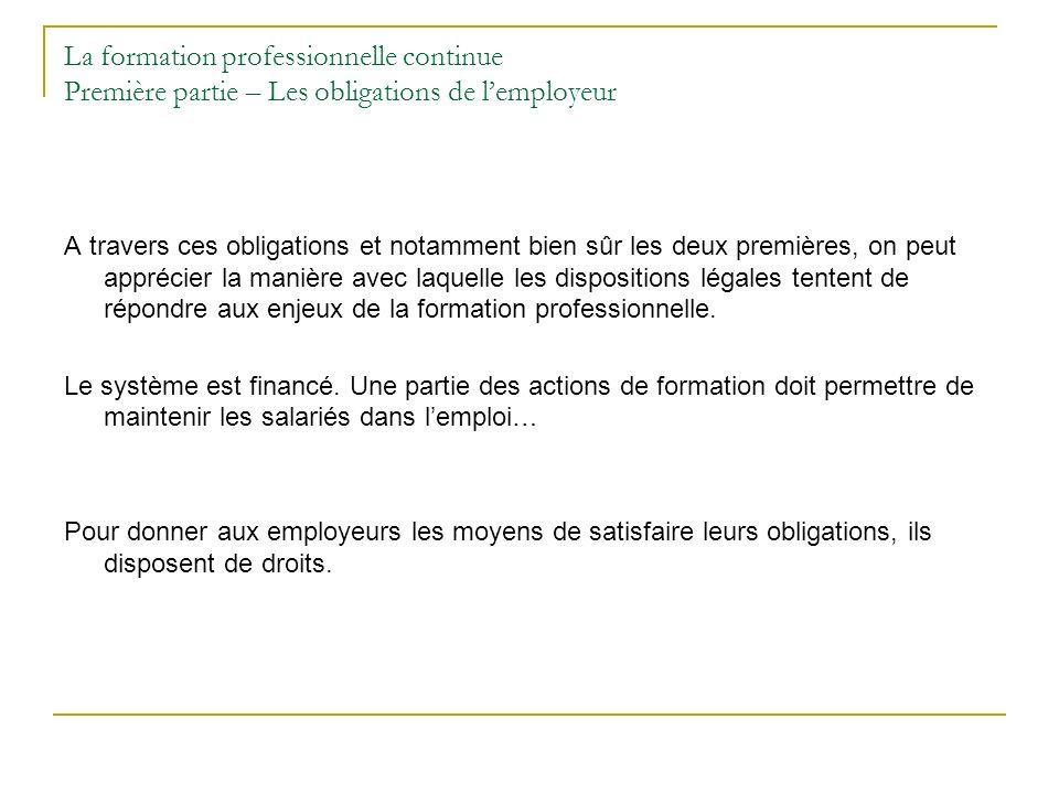 La formation professionnelle continue Première partie – Les obligations de l'employeur