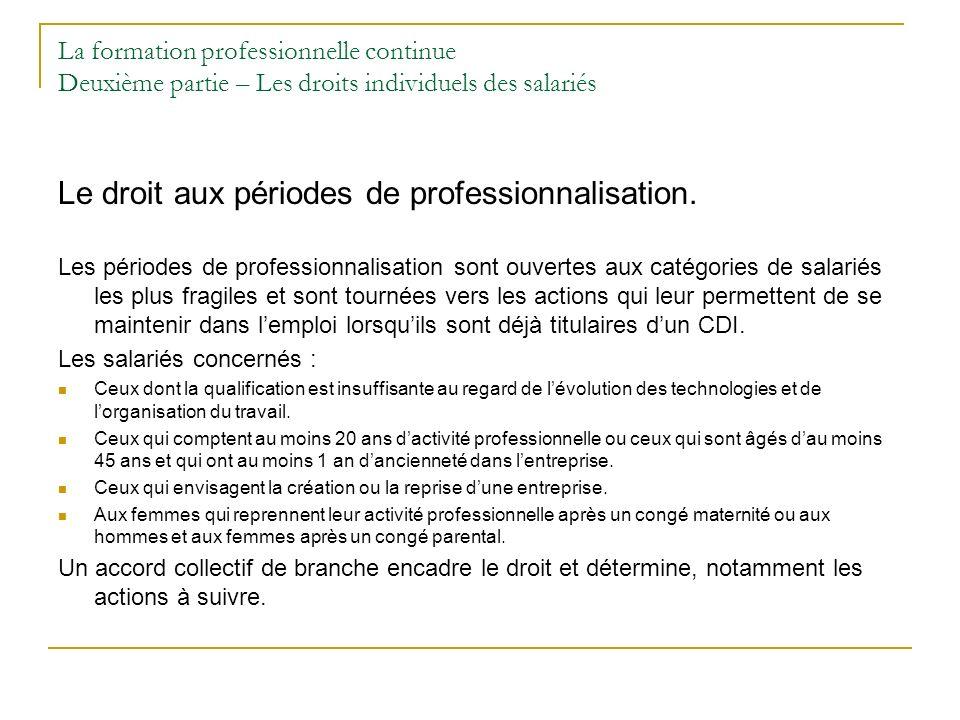 Le droit aux périodes de professionnalisation.
