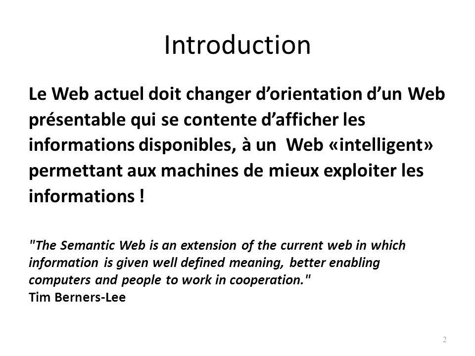 Introduction Le Web actuel doit changer d'orientation d'un Web