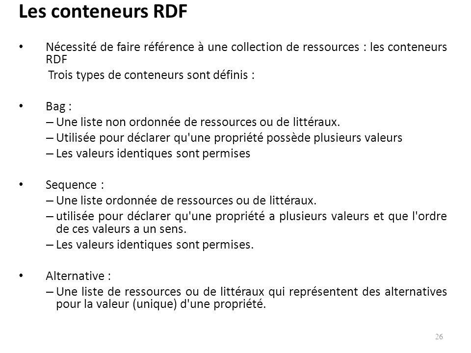 Les conteneurs RDF Nécessité de faire référence à une collection de ressources : les conteneurs RDF.