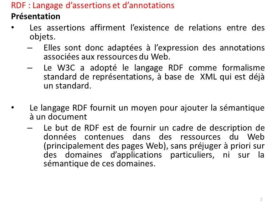 RDF : Langage d'assertions et d'annotations