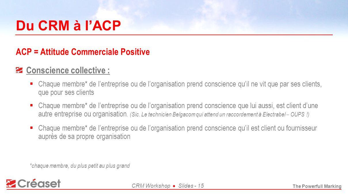 Du CRM à l'ACP ACP = Attitude Commerciale Positive