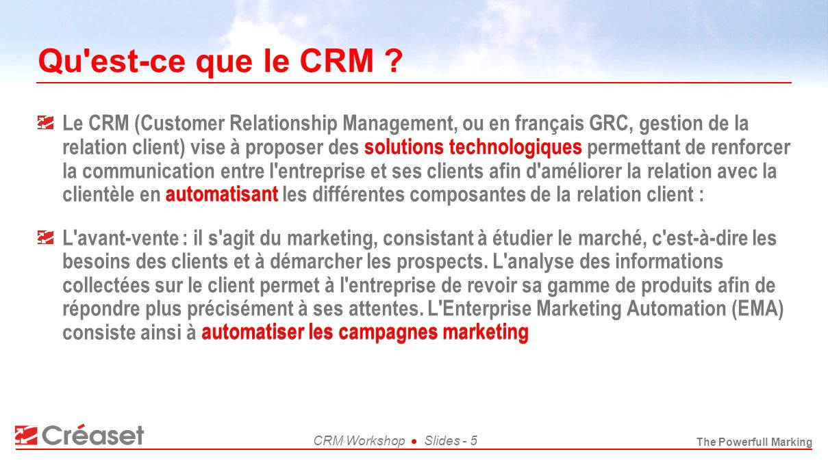 Qu est-ce que le CRM
