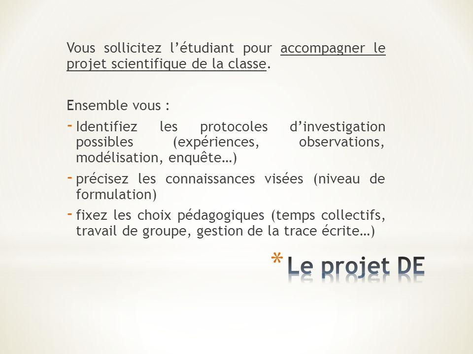 Vous sollicitez l'étudiant pour accompagner le projet scientifique de la classe.