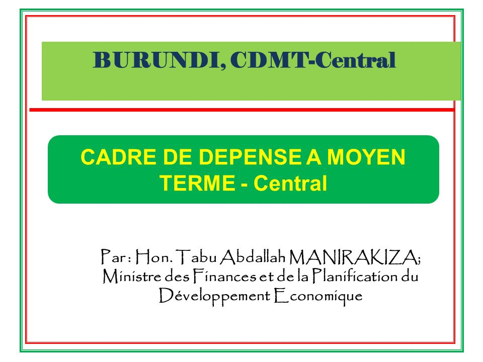 CADRE DE DEPENSE A MOYEN TERME - Central