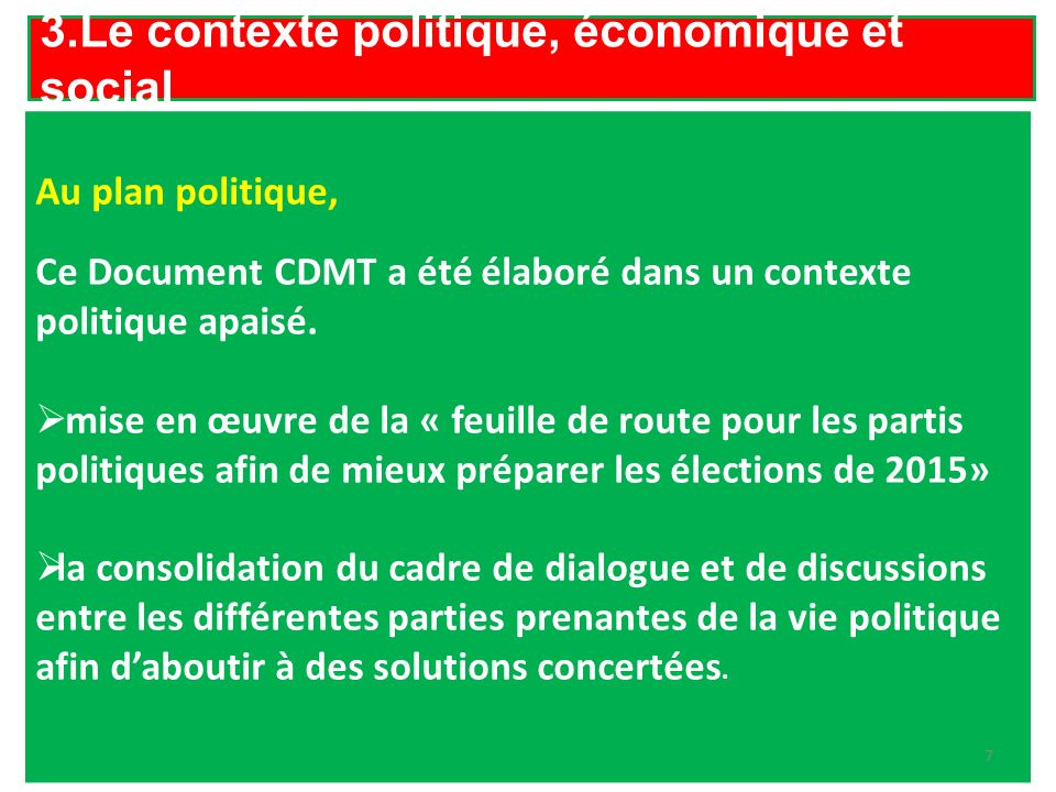 3.Le contexte politique, économique et social