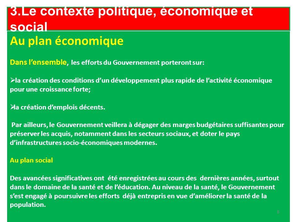 3.Le contexte politique, économique et social Au plan économique