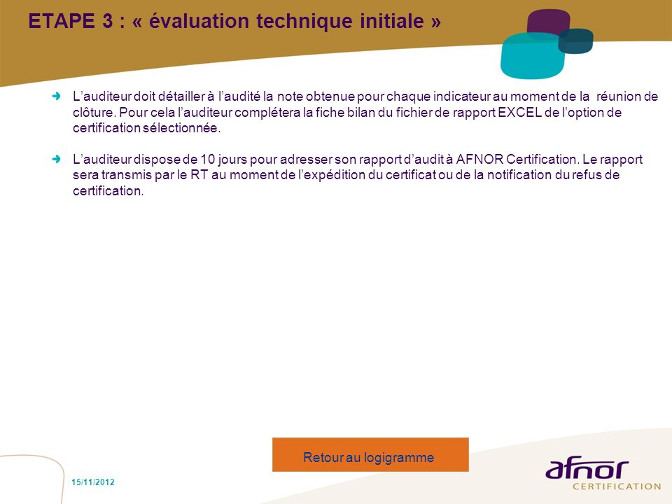 ETAPE 3 : « évaluation technique initiale »