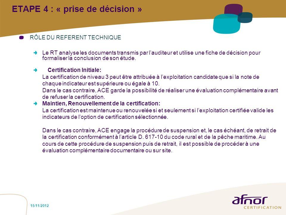 ETAPE 4 : « prise de décision »