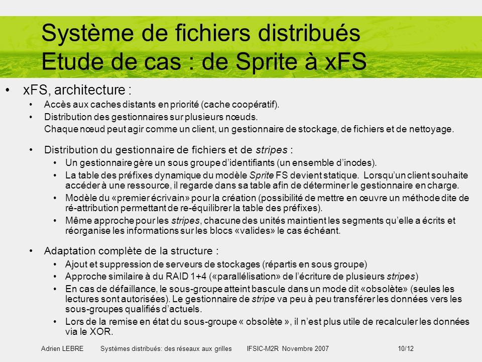 Système de fichiers distribués Etude de cas : de Sprite à xFS