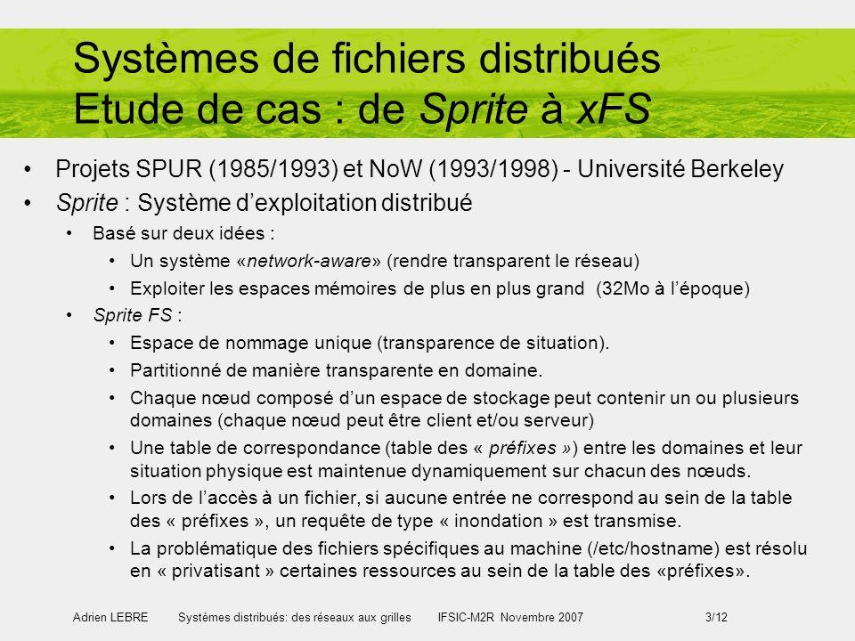 Systèmes de fichiers distribués Etude de cas : de Sprite à xFS