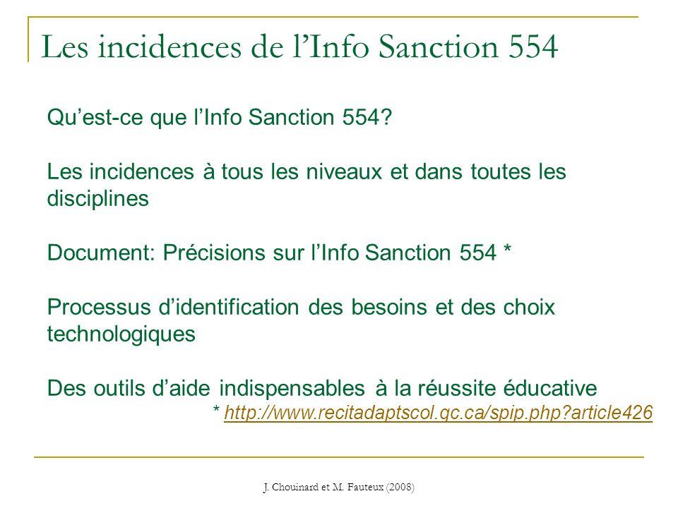 Les incidences de l'Info Sanction 554