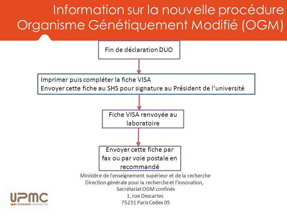 Information sur la nouvelle procédure Organisme Génétiquement Modifié (OGM)
