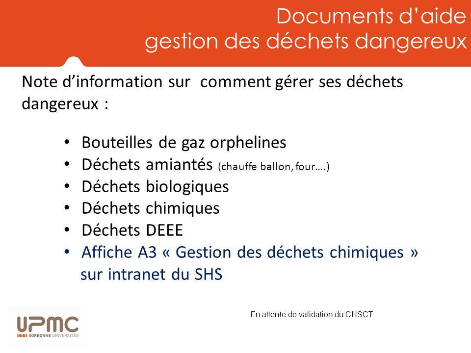 Documents d'aide gestion des déchets dangereux