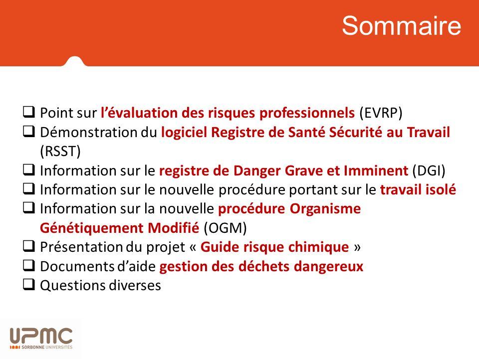 Sommaire Point sur l'évaluation des risques professionnels (EVRP)