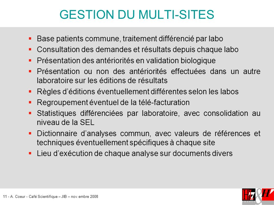 GESTION DU MULTI-SITES