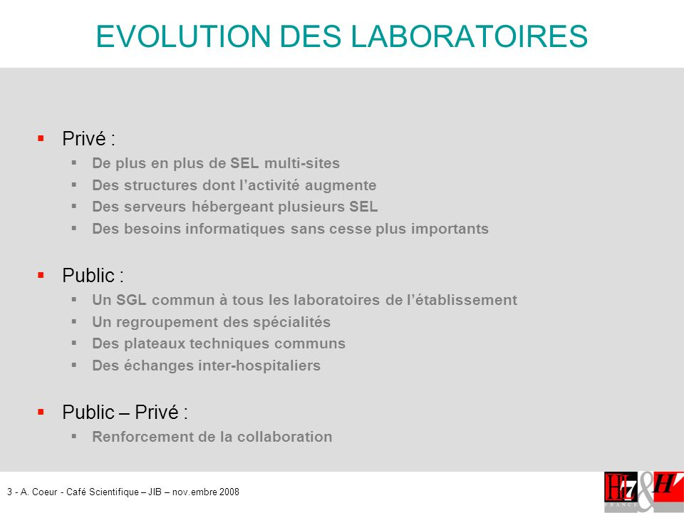 EVOLUTION DES LABORATOIRES