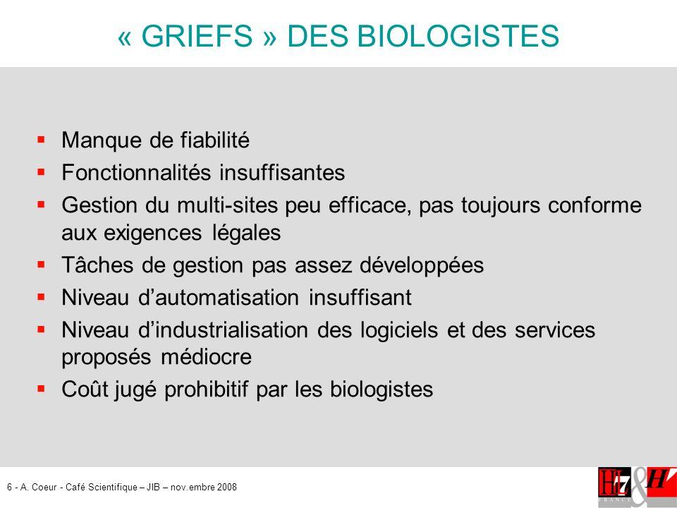 « GRIEFS » DES BIOLOGISTES