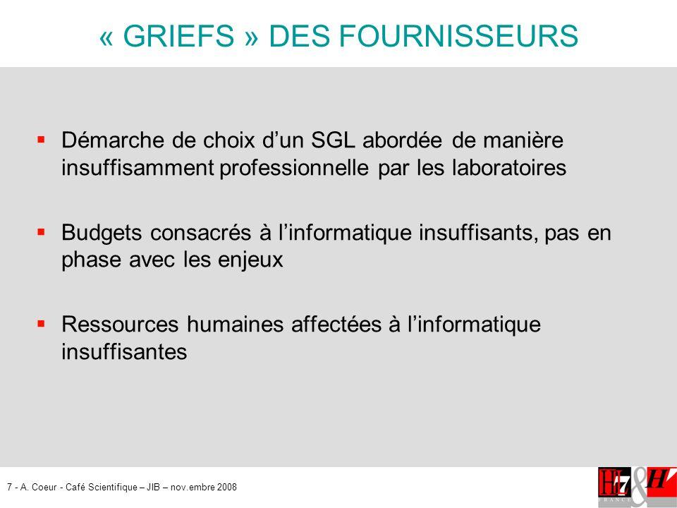 « GRIEFS » DES FOURNISSEURS