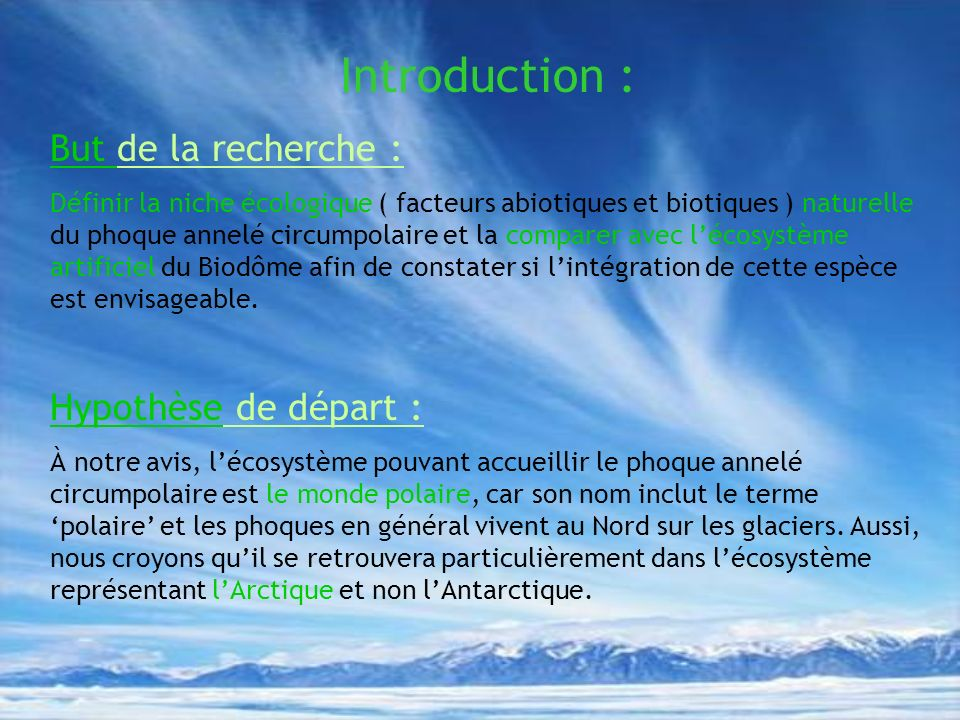 Introduction : But de la recherche : Hypothèse de départ :