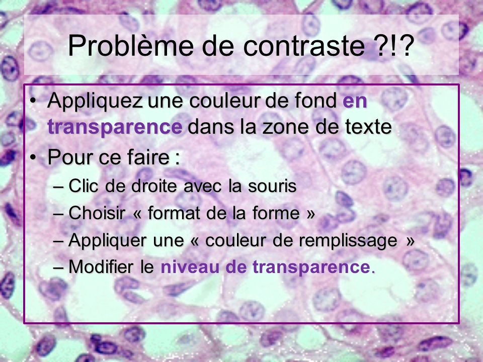 Problème de contraste ! Appliquez une couleur de fond en transparence dans la zone de texte. Pour ce faire :