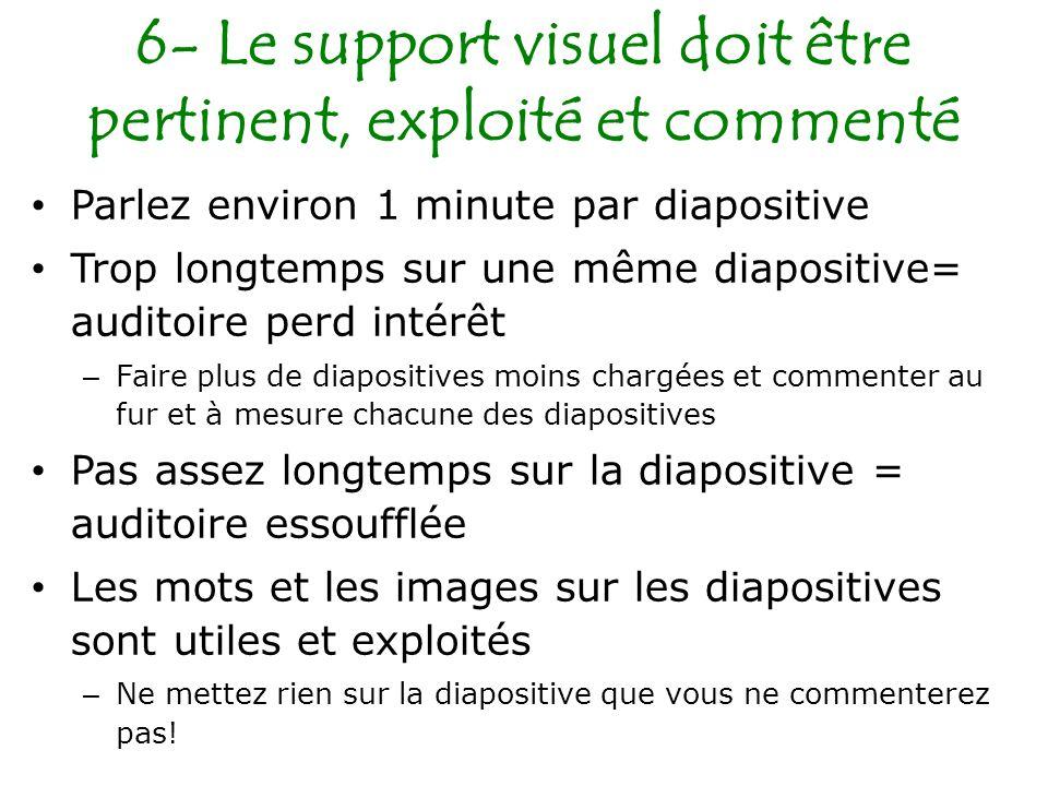 6- Le support visuel doit être pertinent, exploité et commenté