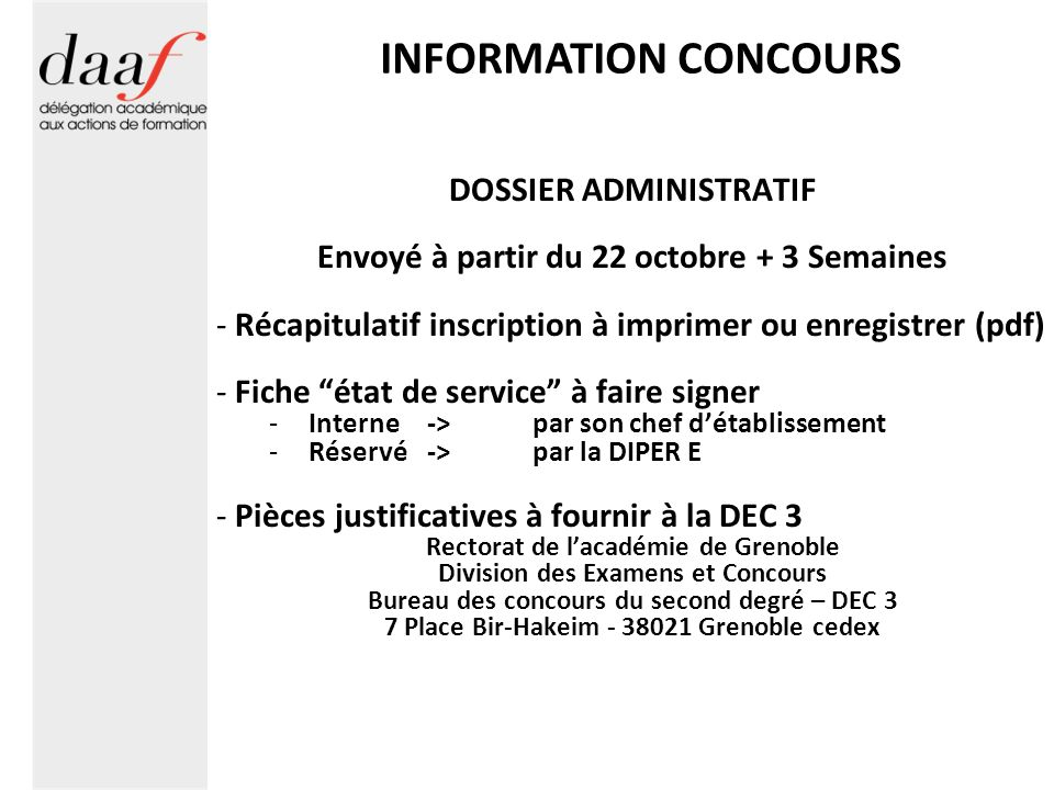 INFORMATION CONCOURS DOSSIER ADMINISTRATIF