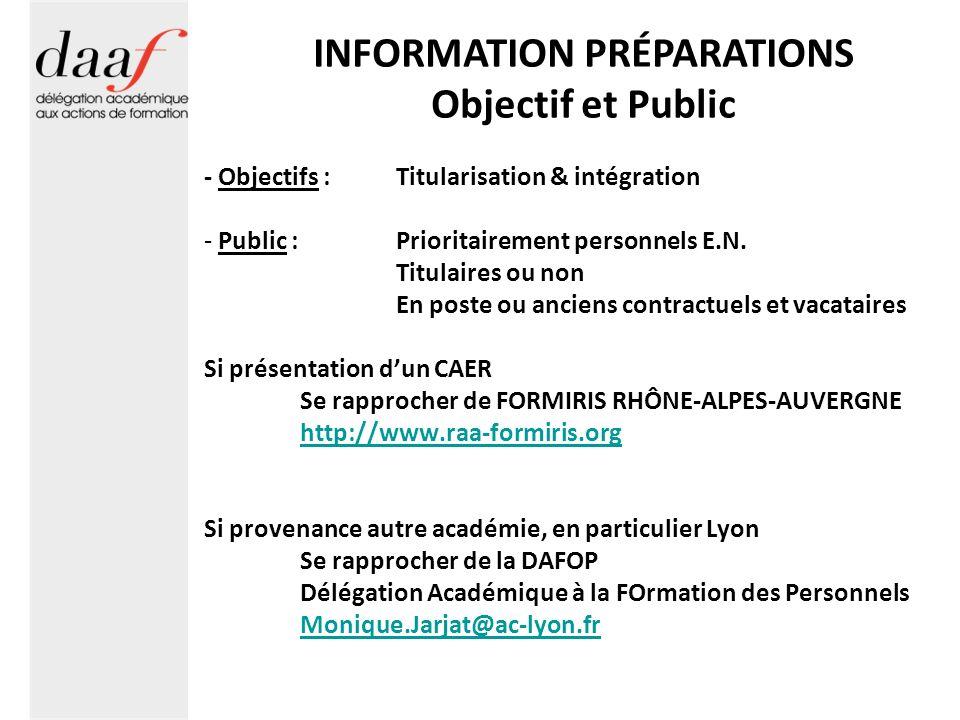 INFORMATION PRÉPARATIONS