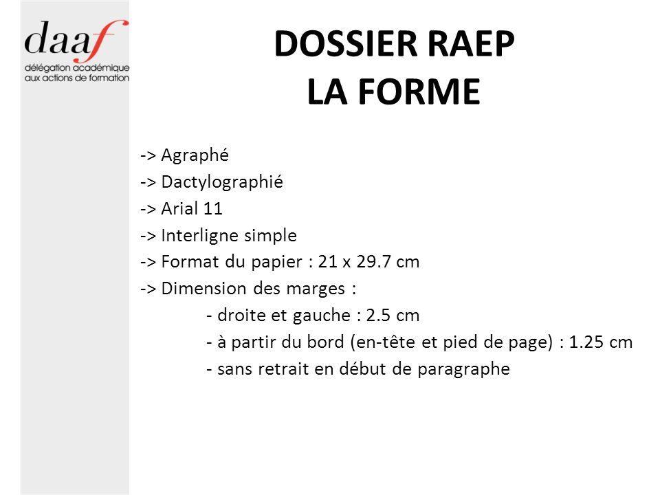 DOSSIER RAEP LA FORME -> Agraphé -> Dactylographié