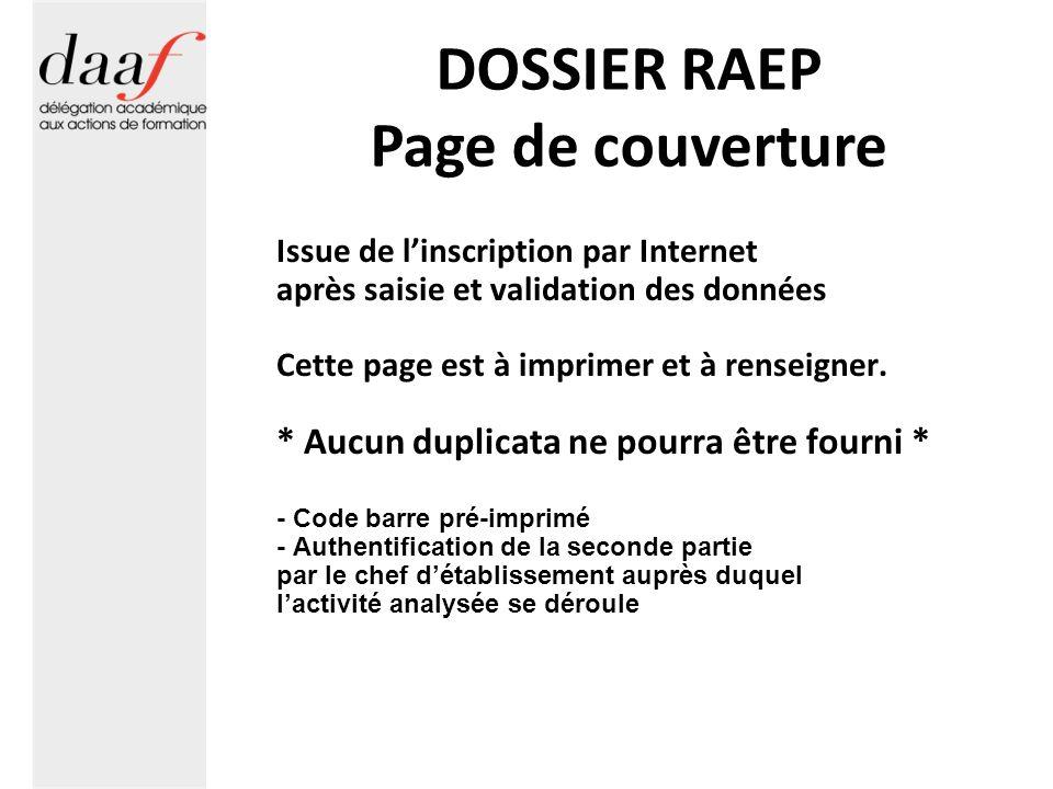 DOSSIER RAEP Page de couverture