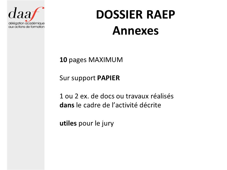 DOSSIER RAEP Annexes 10 pages MAXIMUM Sur support PAPIER