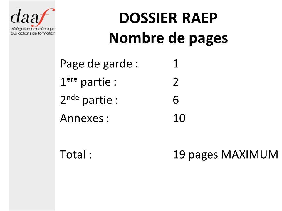 DOSSIER RAEP Nombre de pages