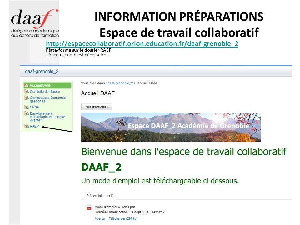 INFORMATION PRÉPARATIONS Espace de travail collaboratif