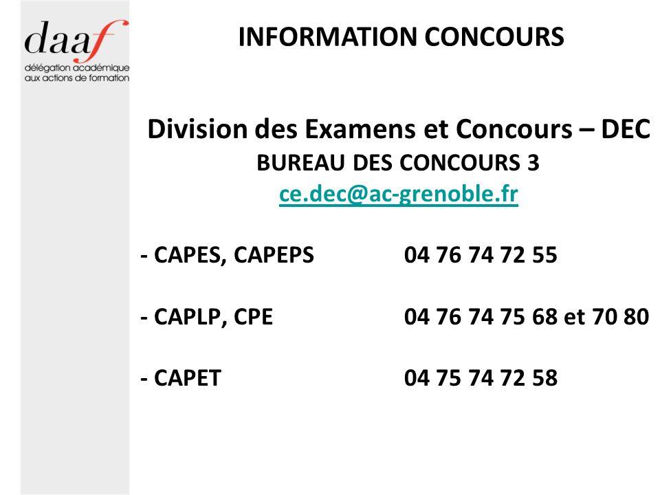 Division des Examens et Concours – DEC