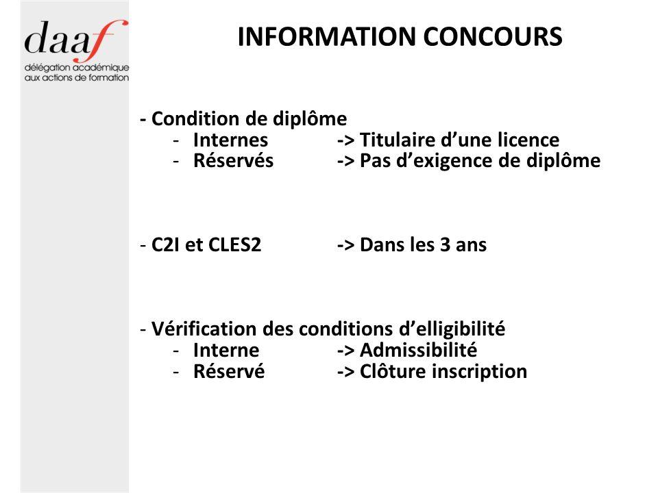 INFORMATION CONCOURS - Condition de diplôme