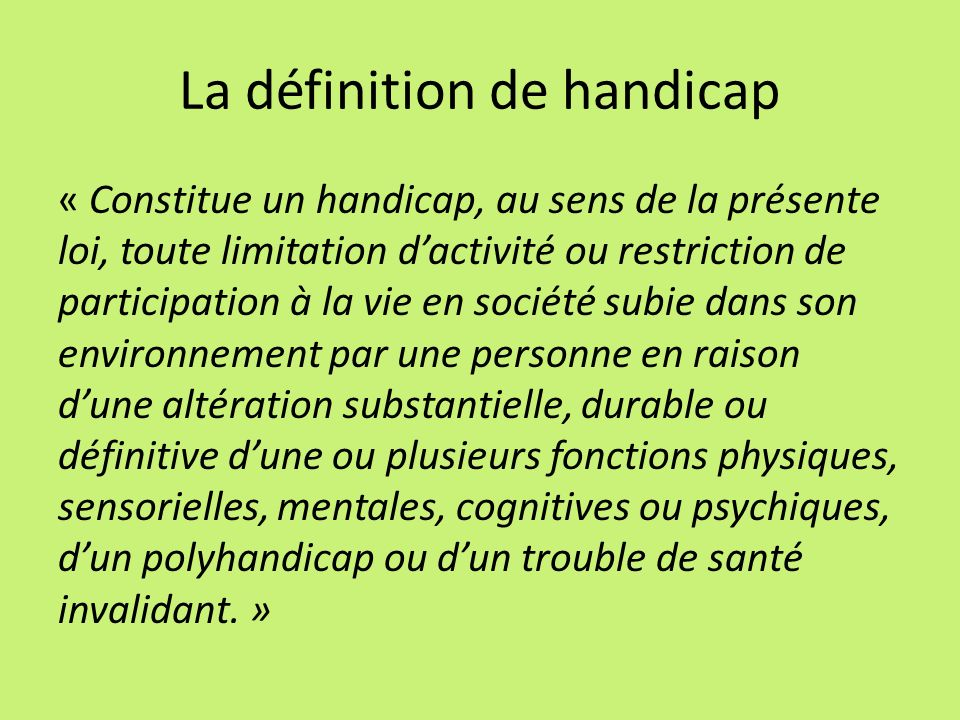 La définition de handicap