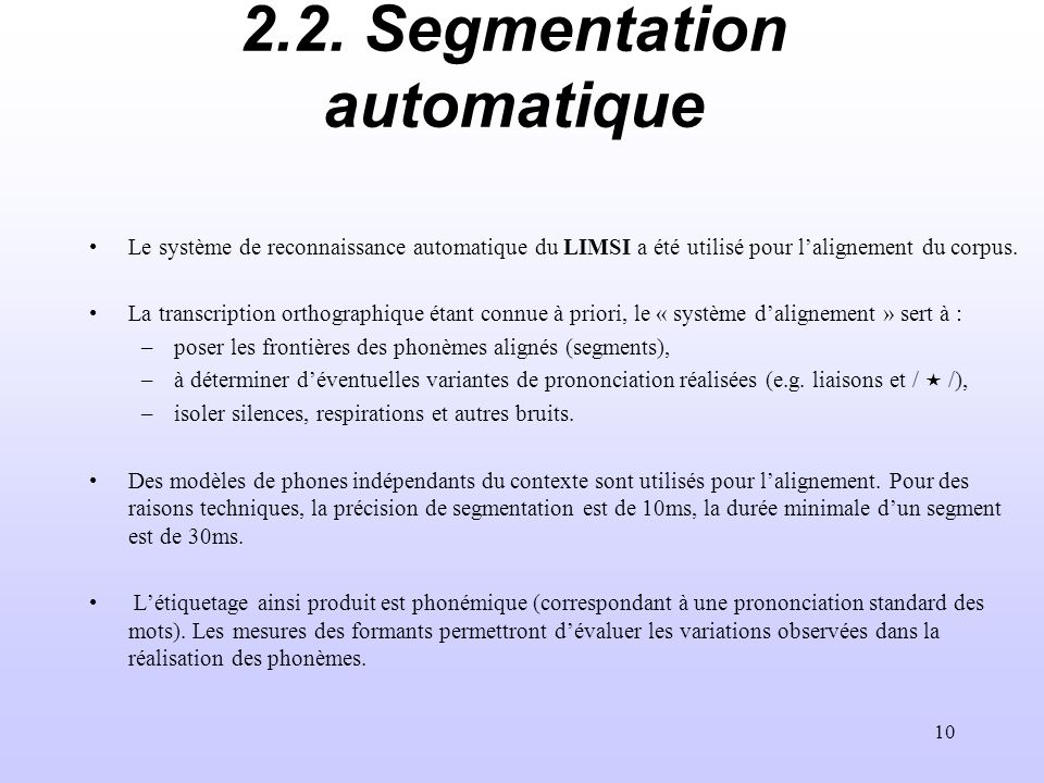 2.2. Segmentation automatique