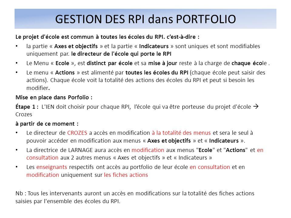 GESTION DES RPI dans PORTFOLIO