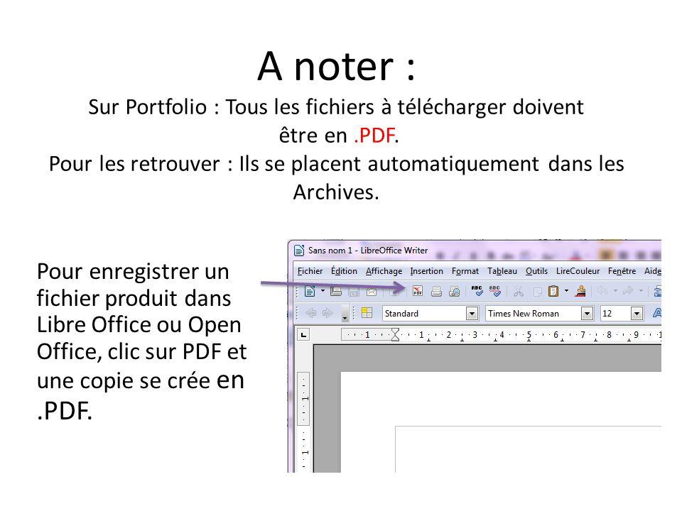 A noter : Sur Portfolio : Tous les fichiers à télécharger doivent être en .PDF. Pour les retrouver : Ils se placent automatiquement dans les Archives.