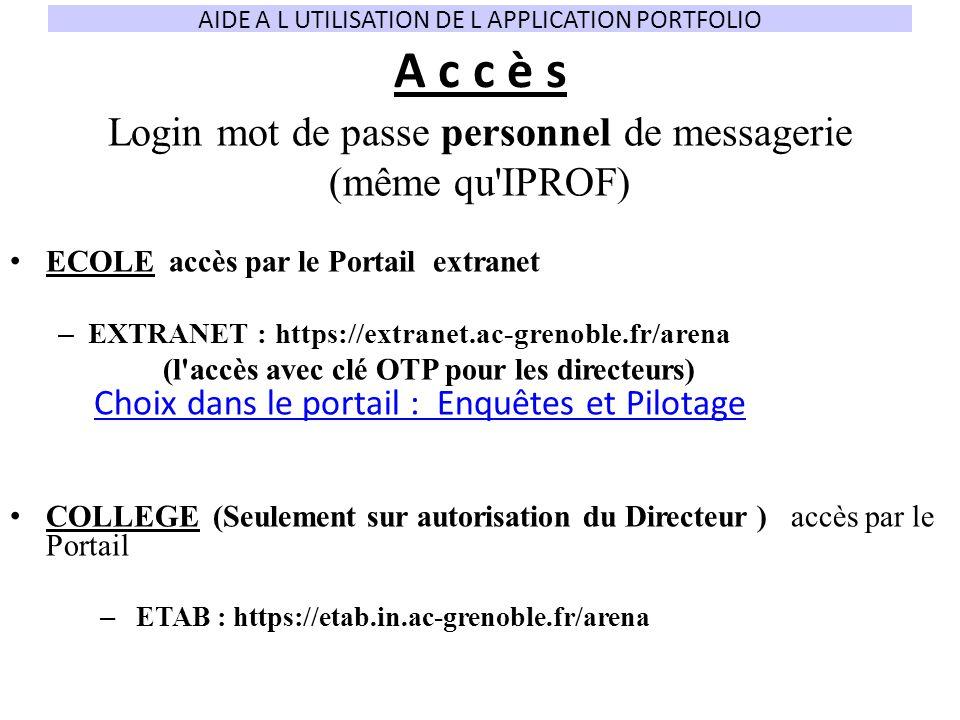 A c c è s Login mot de passe personnel de messagerie (même qu IPROF)