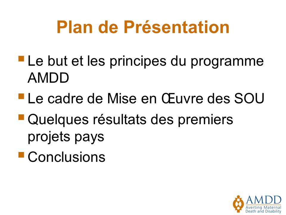Plan de Présentation Le but et les principes du programme AMDD